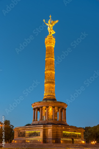 Fototapeta The Victory Column in Berlin at night