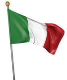 National flag for country of Italy isolated on white background, 3D rendering