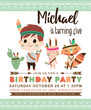 Kids birthday party invitation card with a cute little boy and friends