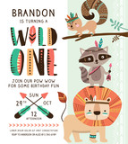 Kids birthday party invitation card with cartoon tribal animals.