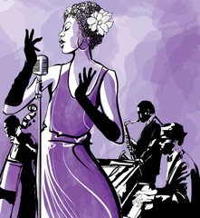 Jazz singer with saxophone, double bass and piano © Isaxar
