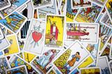 Tarot cards mystical background. Senior card magician.