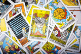 Tarot cards mystical old  background. Senior card lovers.