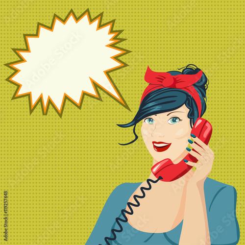 Papiers peints Pop Art Woman chatting on the phone. Pop art vector