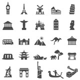 Fototapety Landmark and travel icons. Black Series