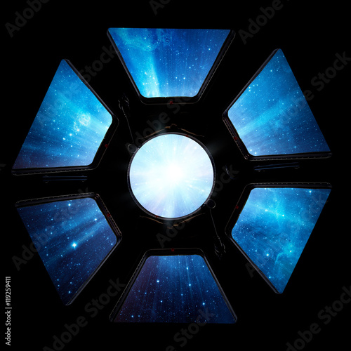 Poster Earth and star in spaceship window porthole