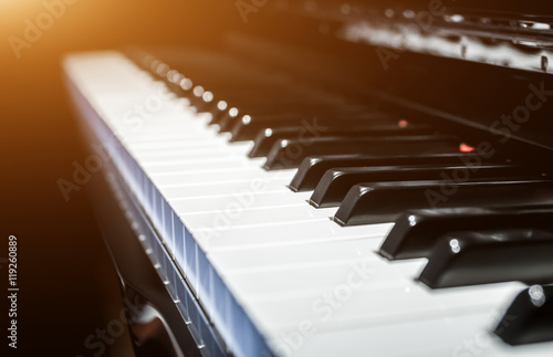 Closeup view of classical piano keys with modern black and white style © JFL Photography