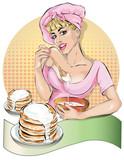 Pin-up kucharka kobieta w różowej sukience ugniata ciasta naleśników. Moda, seksowna żona, wyciągnąć rękę wektora