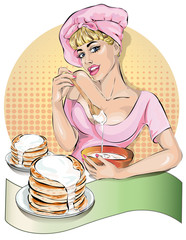 Pin-up cook woman in pink dress kneads the pancakes dough. Fashion, sexy wife, hand drawn vector
