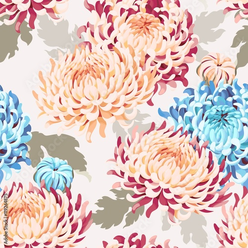 Cotton fabric Seamless japanese chrysanthemum