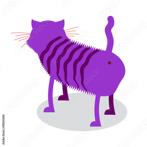 Poster Pony Cheshire Cat. Fantastic pet is backwards. Magic animal from fair