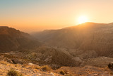Dana Biosphere Reserve landscape at sunset