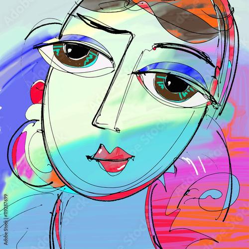 Fototapeta beautiful women digital painting, abstract portrait of girl with
