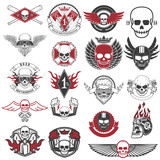 Fototapety Set of biker labels and emblems. Motorcycle racing.