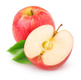 Isolated cut red apple over white background with clipping path
