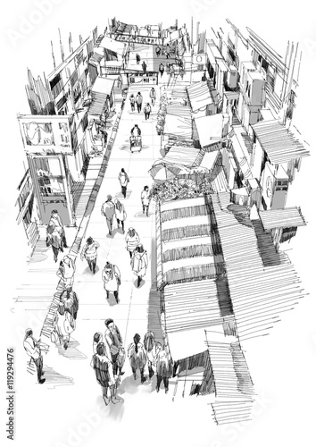 hand drawn sketch of people walking in market street,Illustration,drawing - 119294476