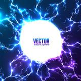 Fototapety Shining electric lightning white circle frame
