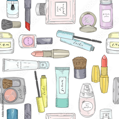 Cotton fabric Hand drawn cosmetics pattern. Beauty and makeup.