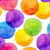 Fototapety Bright rainbow colors watercolor painted circles seamless pattern