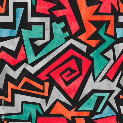 Aluminium Graffiti Watercolor graffiti seamless pattern. Vector colorful geometric abstract background in red, orange and blue colors.