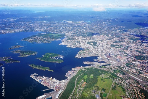 Aerial view of the Oslo area in Norway
