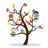 tree with the alphabet and children reading