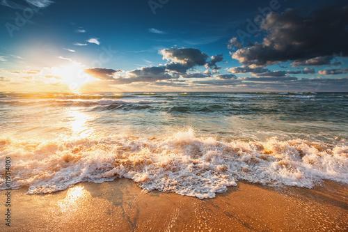 Beautiful sunrise over the sea Poster