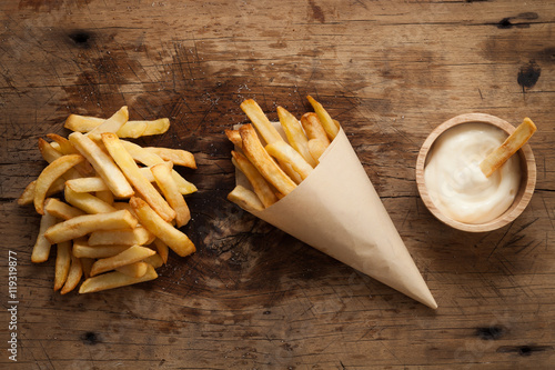 Poster fries french sour cream still life flat lay