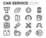 Vector black line car service icons set