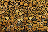 BACKGROUND OF DRY CHOPPED FIRE WOOD LOGS IN A PILE - 119324219