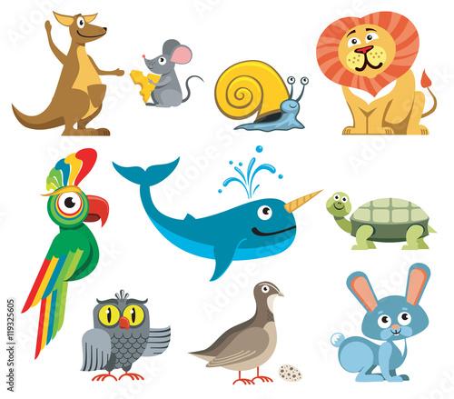 Fototapeta Cute animals vector set in cartoon style