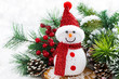 Christmas composition with snowman and light bokeh