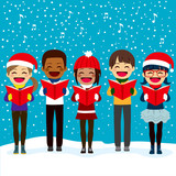 Fototapety Happy children friends from different ethnicities singing carols at Christmas night
