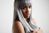 Fototapety black woman with a grey creative colored hair