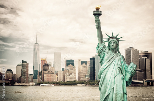 New York City and Liberty Statue Poster