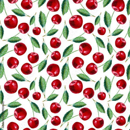 Seamless pattern with cherry.Food picture.Watercolor hand drawn illustration.White background. - 119336645