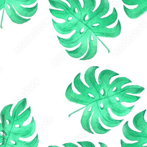 Cotton fabric Watercolor jungle seamless patterns