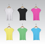 Assorted woman t-shirts on hangers.