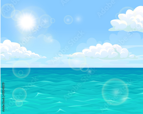 Foto op Plexiglas Turkoois Sea and sun landscape horizontal