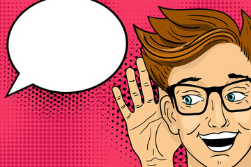 Young surprised  happy man in glasses listening with open mouth. Vector illustration in retro pop art comic style.