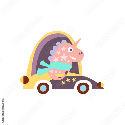 Poster Unicorn In Racing Car Stylized Fantastic Illustration