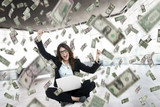 business woman winning money - 119359243