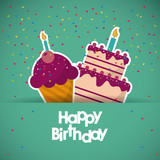 muffin cupcake candle happy birthday celebration party icon. Colorful design. Vector illustration