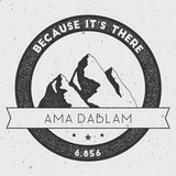 Ama Dablam in Himalayas, Nepal outdoor adventure logo. Round climbing vector insignia. Climbing, trekking, hiking, mountaineering and other extreme activities logo template.