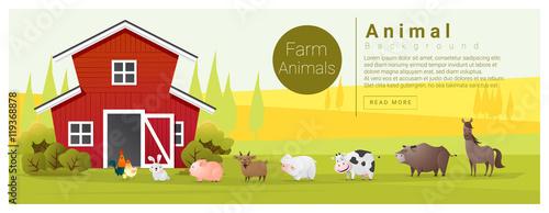 Foto op Canvas Boerderij Rural landscape and farm animal background , vector , illustration