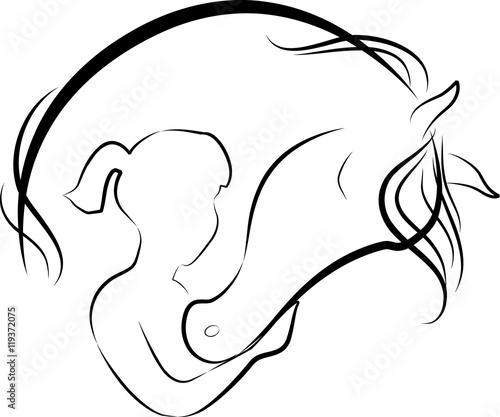 Vector illustration of Horse and girl friendship, logo
