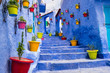 Quadro Morocco, Chefchaouen or Chaouen  is most  noted for its small narrow streets and neighborhoods painted in  variety of vivid blue colors. Plantings in colorful pots line the narrow corridors.