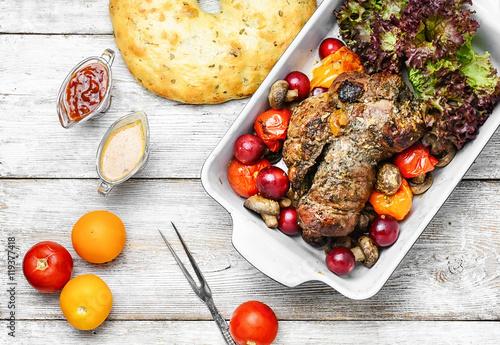 Poster Meatloaf in vegetables and fruits