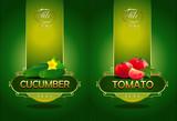 Cucumber, tomato. Vector