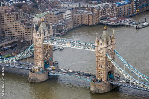 Obraz na Plexi London, England - Aerial view of the world famous Tower Bridge